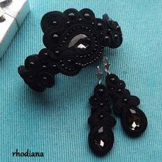 Czarne+Kryształy+komplet+sutasz+w+rhodiana+na+DaWanda.com
