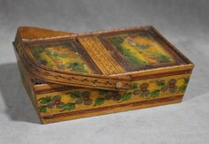 Antique Scandinavian Folk Art Painted Wood Sewing Box w/Miniature Paintings