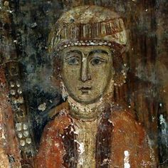 Byzantine fresco of Eirene Komnene at the Church of Taxiarches, Kastoria. One of the highlights on our archaeological tours of northern Greece. Fresco, Magna Graecia, Macedonia Greece, Byzantine Art, Medieval Art, Romanesque, Greeks, Ancient Greece, Illuminated Manuscript