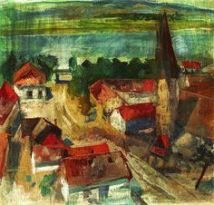 Szőnyi, István - Zebegény, in background the Danube, 1930 Learn To Paint, Hungary, Paintings, Artists, Scenery, Paint, Painting Art, Artist, Learn To Draw
