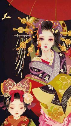 Geisha is not the same as geisha, geisha is only buy art - black date Jun Anime Art Girl, Manga Art, Character Art, Character Design, Geisha Art, Geisha Anime, Anime Kimono, Art Japonais, Japanese Painting