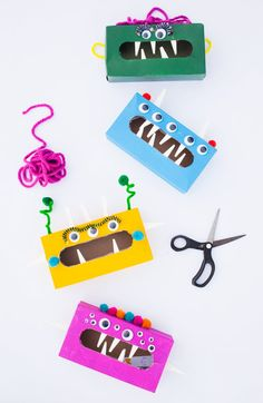 Ease your child's Back to School Jitters with a simple DIY for making Worry Monsters our of tissue boxes and supplies you have around the house!