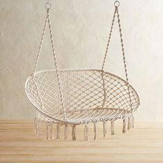 Pier 1 Imports Large Macrame Hanging Saucer Chair ($150) ❤ liked on Polyvore featuring home, furniture, chairs, natural, macrame chair, handcrafted furniture, macrame hammock, macrame furniture and handmade furniture