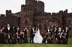 Bride and groom: A wide shot shows the large wedding party; listed alphabetically the brid...