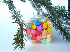 Funky Bright and Neon Origami Stars Ornament. $15.00, via Etsy.
