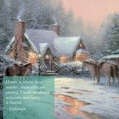 Thomas Kinkade was an American painter of popular realistic, bucolic, and idyllic subjects. He is notable for the mass marketing of his work as printed reproductions and other licensed products via The Thomas Kinkade Company. Thomas Kinkade Art, Thomas Kinkade Christmas, Christmas Scenes, Christmas Art, Christmas Images, Cowboy Christmas, Cottage Christmas, Xmas, Kinkade Paintings