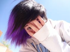 Community Post: The 7 Coolest Ways To Dye Your Hair Purple Black Hair, Blue, Hair Color Placement, Short Hair Cuts, Short Hair Styles, Cute Hair Colors, Mom Hairstyles, Emo Hair, Emo Girls