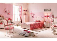 Dormitorio de Princesa lacado en blanco y rosa