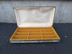 Small Jewelry Box with Crowns on Lid Velvet interior Small Brown
