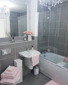 Shared by ~luxurious Taste~. Find images and videos about pink, luxury and home on We Heart It - the app to get lost in what you love. Bathroom Design Luxury, Modern Bathroom, Home Interior Design, Small Bathroom, Bathroom Goals, Dream Bathrooms, My New Room, Home Decor Bedroom, Bathroom Inspiration