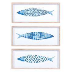 3 cuadros peces de madera azul 14 x 33 cm AZZURA - Vendido por 3