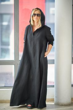 Black Linen Dress, Caftan Dress, Plus Size Linen Dress, Black Maxi Dress, Hooded Dress, Gothic Clothing, Long Maxi Dress,Large Size Clothing