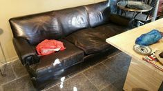French 1940s three seater leather settee