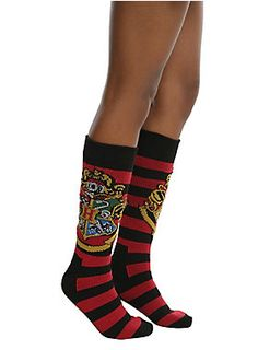 """<div>Keep your toes extra toasty with these sweater socks from <i>Harry Potter</i>. The red and black striped knee high socks feature the Hogwarts crest on the calf. </div><div><ul><li style=""""LIST-STYLE-POSITION: outside !important; LIST-STYLE-TYPE: disc !important"""">One size fits most</li><li style=""""LIST-STYLE-POSITION: outside !important; LIST-STYLE-TYPE: disc !important"""">90% polyester; 10% spandex</li><li style=""""LIST-STYLE-POSITION: outside !important; LIST-STYLE-TYPE: disc !important..."""