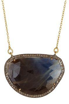 Sapphire & Champagne Diamond Pendant Necklace