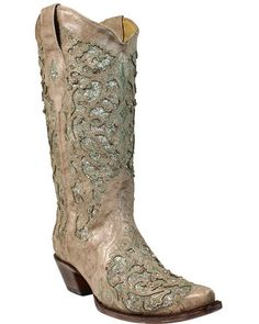 Show off your style in these Corral Glitter Inlay and Crystals Western Boots. These boots are decorated throughout with a gorgeous glitter inlay design Cowgirl Boots, Western Boots, Cowgirl Bling, Women's Boots, Valentino Wedding Shoes, Rockstud Pumps, Glitter Fashion, Wedding Boots, Wedding Dress