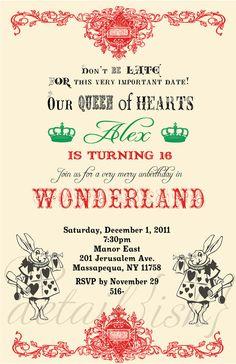 Alice in Wonderland Birthday Invite