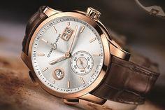 La très belle Ulysse Nardin Dual Time Manufacture en or rose, cuir et cadran gris.