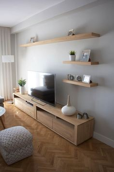 Awesome 54 Elegant Living Room Wall Decoration You Can Try Asap Wall Cabinets Living Room, Tv Wall Cabinets, Living Room Tv Unit, Ikea Living Room, Storage Cabinets, Tv On Wall Ideas Living Room, Kitchen Living, Kitchen Cabinets, Tv Wanddekor