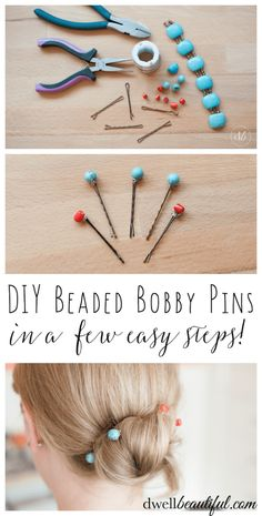 It is wedding and party season and I always like dressing up my hair for special occasions with cute decorative bobby pins. In a few easy steps you can make your own DIY Beaded Bobby Pins and be on your way to a beautiful new hairstyle! Hair Jewelry, Beaded Jewelry, Jewellery Box, Jewellery Storage, Beaded Bracelet, Jewlery, Diy Accessoires, Do It Yourself Fashion, Twist Headband