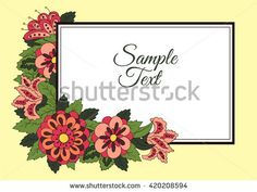Horizontal card. Cover for the book album. Background for inscriptions. Doodle flowers. Yellow background   #bubushonok #art #bubushonokart #design #vector #shutterstock  #pattern #card #holidays #doodle #holiday #banner
