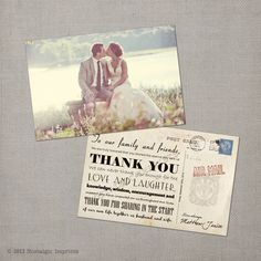 Janice - 4x6 Vintage Wedding Thank You Card