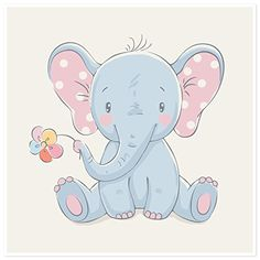 Cute elephant with a flower cartoon hand drawn vector illustration. Can be used for baby t-shirt print, fashion print design, kids wear, baby shower celebration greeting and invitation card. Vinyl Wall Mural – Animals – T-Shirts & Sweaters Image Elephant, Cute Elephant, Elephant Images, Elephant Design, Baby Cartoon, Cute Cartoon, Cartoon Wall, Baby Elephant Drawing, Elephant Drawings