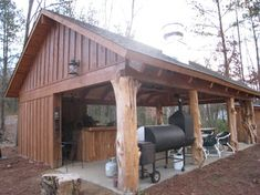 Rustic Cedar Log pavilion - traditional - patio - nashville - Appalachian Log and Timber Homes Backyard Pavilion, Outdoor Pavilion, Outside Living, Outdoor Living, Rustic Outdoor, Outdoor Decor, Rustic Patio, Kitchen Rustic, Gazebos