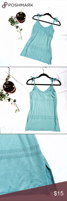 9131987d Turquoise Tied Strap Cami Top A beautiful turquoise, tied at the strap,  medium sized comfortable cotton camisole top, comes in excellent condition  with ...