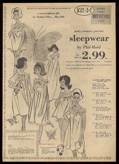 1963 Phil-Maid lingerie baby doll slip big illustrated local Denver print ad