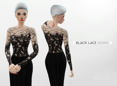 BLACK LACE GOWN at Leeloo via Sims 4 Updates