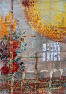 Joanne Weis - Food from the Earth.(Psalm 103; 13-15).   Silk – hand dyed, screened and embroidered.