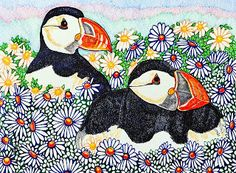 Two Puffins in the Daisies Canadian Art, Daisies, Snoopy, Kids Rugs, Prints, Character, Animals, Decor, Margaritas