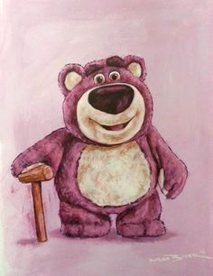 Acrylic painting of Lotso Bear from Disney Pixar's by MarkBakerArt, €39.00