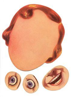Elementy do tworzenia twarzy pochodzące z gry  z lat '30. Komplet zawierający pełną mimikę dorosłych i dzieci.