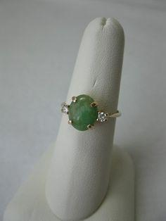 Jade Diamond Engagement Wedding Ring Antique 14k Art Deco Hollywood Regency | eBay