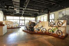 Stripe Design Group x Santa Cruz Bicycles - Stripe Santa Cruz Bicycles, Bicycle Store, Bicycle Safety, Showroom Interior Design, Bike Parking, Small Buildings, Shops, Shop Interiors, Bike Design