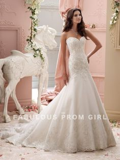 Trumpet / Mermaid Applique Tulle Wedding Dresses For Bride - FabulousPromGirl.com