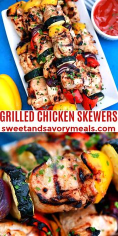 These Grilled Chicken Skewers are super juicy made with marinated chicken breasts along with some colorful vegetables. #sweetandsavorymeals #grilledchickenskewers #skewers #grilled chicken