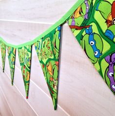 TMNT Birthday Banner, Ninja Turtle Bunting Flag, Birthday Party Decor, Teenage Mutant Ninja Turtles on Etsy, $24.50