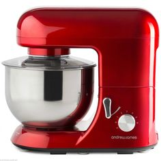 Andrew James 1300W Pro Electric Food Stand Mixer & Splash Guard In Stunning Red