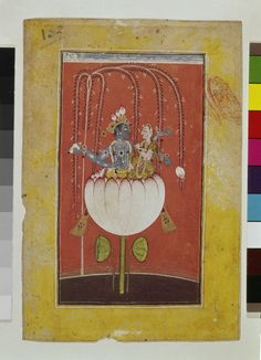 Painting. General subject - deity. Vishnu and Lak?mi sitting in a lotus. Painted on Paper.
