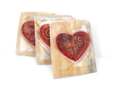 Wall Ceramic heart ornament set of 3  Valentines by 99heads