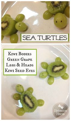 Sea Turtle snack.  Kiwi, grapes and kiwi seeds for eyes.   #Healthy #snack #kids
