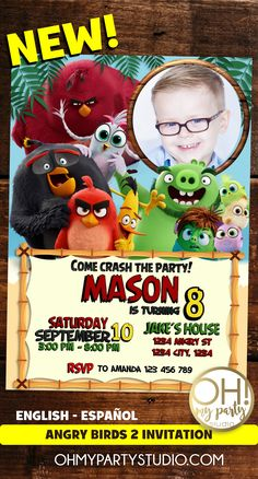 ANGRY BIRDS PARTY, ANGRY BIRDS BIRTHDAY ANGRY BIRDS BIRTHDAY INVITATION, ANGRY BIRDS INVITE, ANGRY BIRDS PRINTABLES 2 Birthday, Monster First Birthday, Bird Birthday Parties, Angry Birds 2 Movie, Movie Invitation, 2nd Birthday Invitations, Movie Party, For Your Party, Kid Names