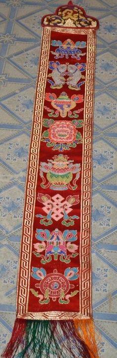 Tibetan Buddhism Auspicious Symbol Silk Brocade Wall Hanging /Red Brocade Banner
