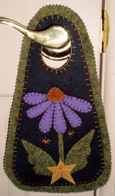 PURPLE CONE FLOWER PENNY RUG DOOR KNOB HANGER