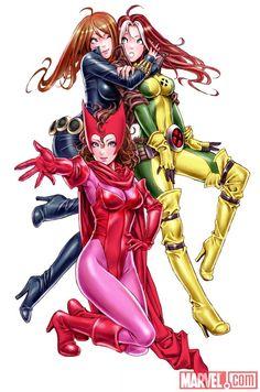 KOTOBUKIYA Marvel Girls - Featuring Black Widow, Scarlet Witch & Rogue By Shunya Yamashita.