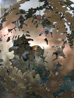 diameter solid brass sphere sculpture from David Murphy Sculpture David Murphy, Garden Sculptures, Steel Sculpture, Hydrangea Flower, Solid Brass, Design, Design Comics