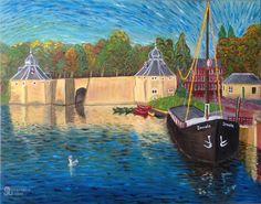 Geïnspireerd door Vincent van Gogh: Spanjaardsgat en Spinola te Breda, NL. Olieverf op doek, 40x50 cm, door Annerieke Smits-Vermeulen, 2015.